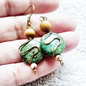 Green Jasper + Sandal Wood Beads ~ Dangle Earrings